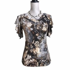 Brittany Black Metallic Floral Flutter Sleeve Top